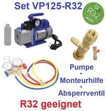 Set: Vakuumpumpe Klimaanlage 70 L/min, R32 geeignet + Monteurhilfe+Absperrventil