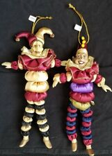 "Katherine's Collection Wayne Kleski Jester and Clown Doll Ornaments 10"" Set of 2"