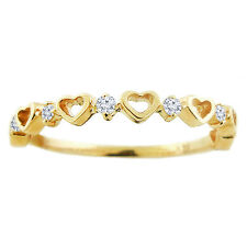 Handmade in USA 14k Yellow Gold .10ctw Diamond Heart Stackable Ring Size 6 Trend