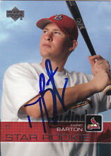 DARIC BARTON ST LOUIS CARDINALS SIGNED 2004 UPPER DECK BASEBALL CARD OAKLAND A'S