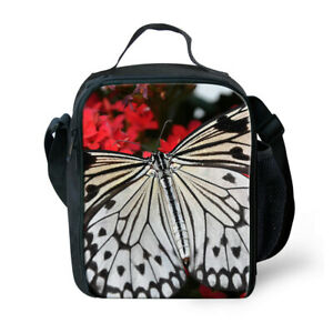 FOR U DESIGNS Butterfly Girl Insulated Lunch Bag Picnic Bag with Shoulder Straps