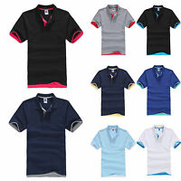 Men Classic Short Sleeve Summer Golf Polo Shirts T-Shirt Casual Tops Plain Tee