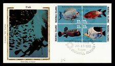 DR WHO 1985 MARSHALL ISLANDS FISH BLOCK FDC COLORANO C173196