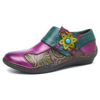 SOCOFY Women Printing Splicing Plant Pattern Boots Hook Loop Flat Leather Shoes