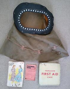 Vintage 1940's ww2 era job lot, Gas mask First aid kit Dress pattern Ration book