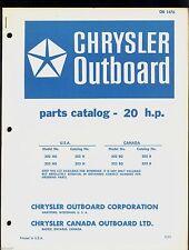 1971 Chrysler 20Hp Outboard Motor Parts Manual / Ob 1476