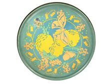 "FREE SHIP: Vintage Large Round Cookie Tin - 10"" Blue Yellow Chicago Box"