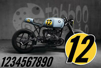 Cafe Racer stickers numbers Brat Scrambler Indian Harley BMW Norton decals