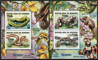 Burundi 2014 MNH Fauna Snakes 2x 2v Deluxe M/S Reptiles Stamps