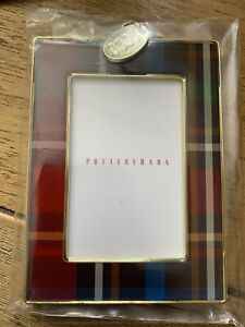 POTTERY BARN 2020 Tartan Plaid Rectangle Picture Frame Christmas Ornament NWT