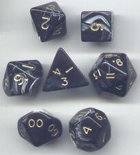 NEW RPG Dice Set of 7 - Marble Black D4 D6 D8 D10 D12 D20 D00-90