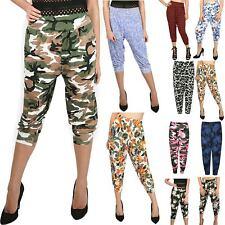 Womens Ladies Cropped 3/4 Harem Leggings Floral Print Ali Baba Bottom Pants 8-26