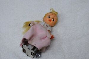Vintage Windup Doll On Wheels, Schoolgirl, Blonde, Japan, Works