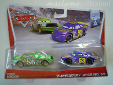 Raro Disney pixar cars CHICK HICKS + TRANSBERRY JUICE 2014 Piston 1/55 mattel