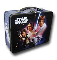 Tin Metal Lunch Snack Toy Box Embossed Star Wars Luke Leia Embossed Black NEW