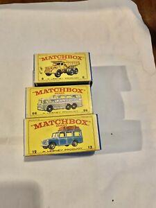 Matchbox Lesney x 3 - 12 Safari Land Rover- 6 Euclid Truck - 66 Greyhound Bus