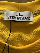 felpa uomo stone island in cotone smerigliato GIALLO IN TAGLIA XXL