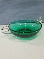 Vintage Glass Candy Dish Gorgeous Green Base Clear Handles