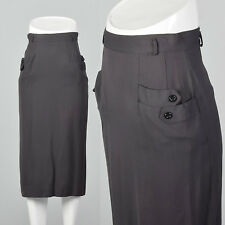 XXS 1940s VTG Classic Gabardine Pencil Skirt Straight Skirt Gray Grey Pockets