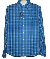Nautica  Men's Blue White  Plaids Logo Casual Cotton Shirt Sz L NEW