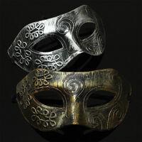 Vintage Mens Antique Silver Gold Masquerade Venetian Halloween Ball Party Mask