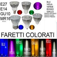 FARETTI LED COLORATI E27 E14 GU10 MR16  9W 12W 15W GIALLO ROSSO BLU BIANCO VERD