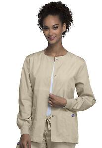 Cherokee Workwear Women Originals Snap Front Warm-Up Jacket 4350 KAKW Khaki