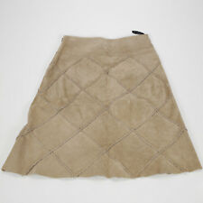 ARDEN B 100% suede leather A Line Skirt Diamond Pattern Camel Knee Length 0134