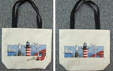 New tote hand book school grocery bag lighthouse sailing ship sea seagull