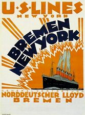 1914 U.S. Lines, Bremen New York  travel ads posters wall deco