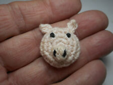 """Cute Pink Pig Face w/ Black Eyes Crochet Fabric Handmade Vintage Button 7/8"""" RS"""