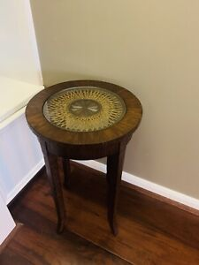 Ethan Allen Side Table Cane Top Accent  #42-0010 Distressed Mahogany GORGEOUS