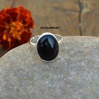 black onyx Solid 925 Sterling Silver Band  Ring Meditation statement Ring sr013