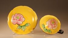 Princess China Black with Yellow and Handpainted Pink Roses Cup and Saucer,Japan