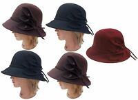 100% Wool Women's Church Dress Formal Wide Brim Cloche Hat Cap with Flower 57 cm