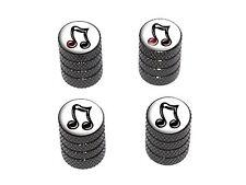 Music Musical Note - Tire Rim Valve Stem Caps - Black