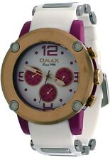 Omax PA09Q33R Men's Pink Tone White Bullet Resin Band Multi-Function Watch
