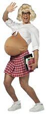 Pregnant Schoolgirl Costume School Girl Adult Mens Fat Belly Suit Nerd Skirt NEW