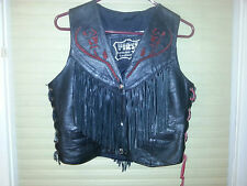 First Genuine Leather Vest Harley Davidson Motorcycle Red Rose Tassles