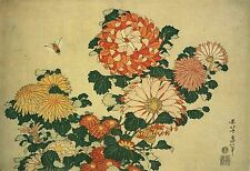 Japanese Woodblock Chrysanthemum and Bee Flower Print Poster by Hokusai NEW