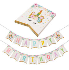 Unicorn Banner Gold Real Glitter Bunting Garland Flag Happy Birthday