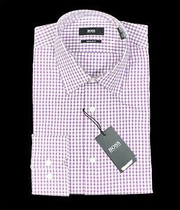 Men's HUGO BOSS Purple White Plaid Dress Shirt 16 34/35 Regular Fit NWT NEW