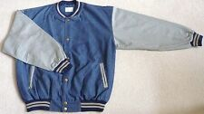 Light Weight, Mid Blue Denim / Gray Tone Cotton Sleeves Baseball Jacket (Size M)