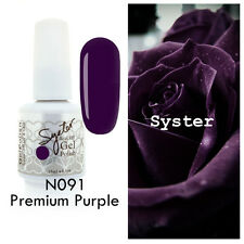 SYSTER 15ml Nail Art Soak Off Color UV Gel Polish UV Lamp N091 - Premium Purple