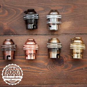Vintage metal pendant lamp holders retro antique style light B22 BC 6 finishes