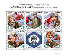 More details for sierra leone aviation stamps 2020 mnh amelia earhart famous people 5v m/s