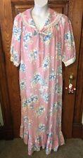 VIOLETTE Long Pink Floral Lace Trim Nightgown House Dress ROBE Sz L, Super LONG