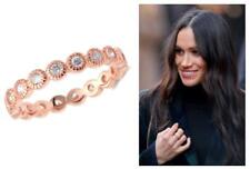 1.10 CW CZ Bezel Milgrain Stackable Eternity Band Layering Ring Rose Gold Size 8