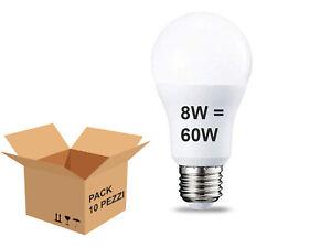10 LAMPADINE LED E27 da 8W =60W Lampada Goccia Bulbo Globo Sfera 4000K OPALE
