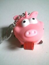 """Rubber PIG Curly Tongue Key Ring 1-3/4"""" Squeaky Keychain (CC001)"""